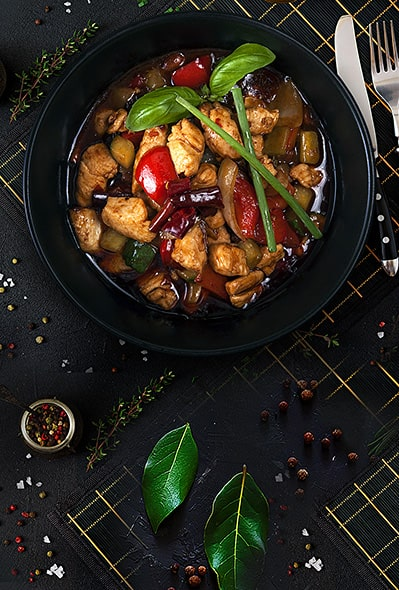 Kung Pao Chicken with Vegetables and nuts
