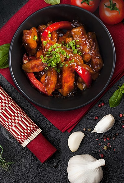 "Traditional Chinese appetizer ""Eggplant with fish flavor"""